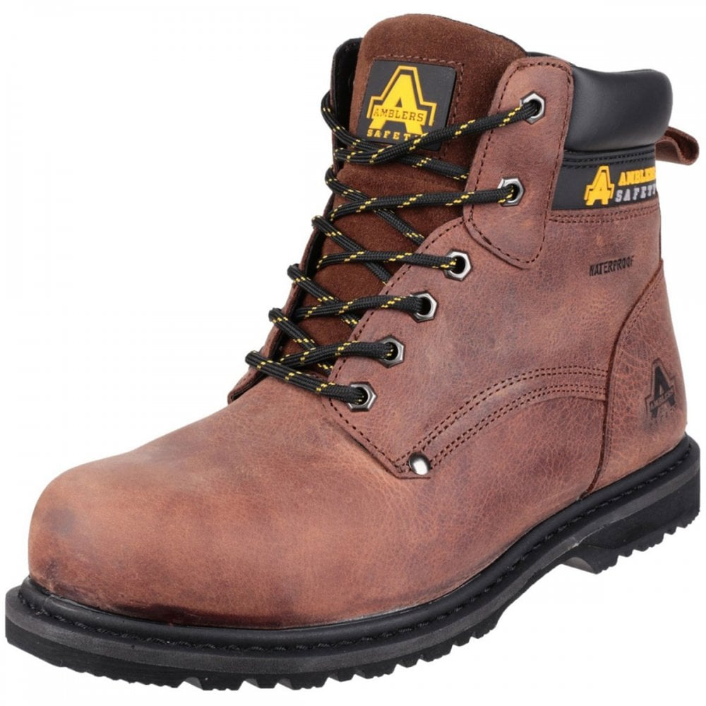 Amblers Safety Mens Crazy Horse Leather Welted Boot Brown Various Size FS164