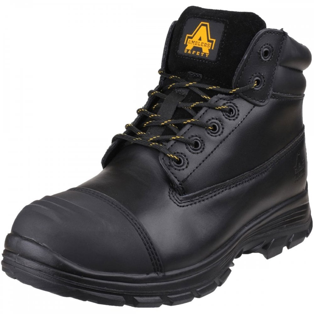 Mens Centek Metatarsal Guard Safety Work Boots Black Leather Industrial