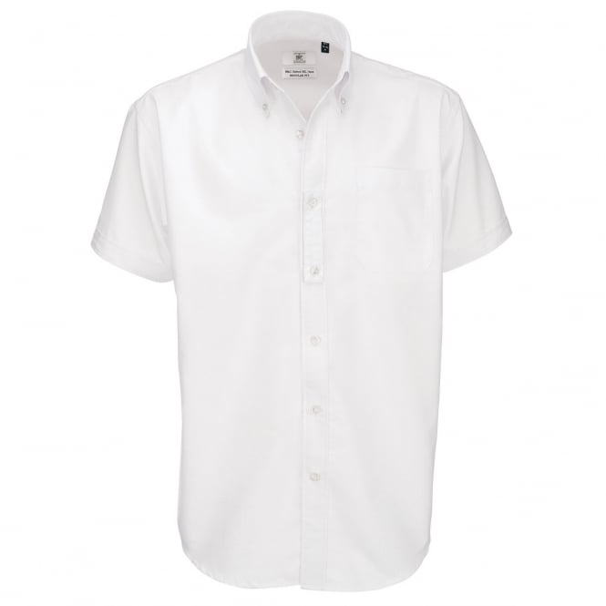 B&C SMO02 Men's Oxford Short Sleeve Shirt White - Size: XL *One Size Only - Outlet Store*