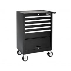 Roller Cabinet 5 Drawer + Compartment - Black