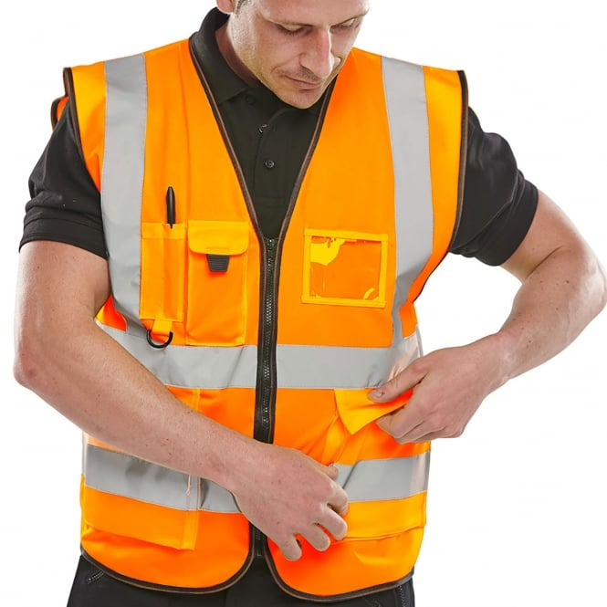 BSeen Executive Hi Viz Waistcoat Orange