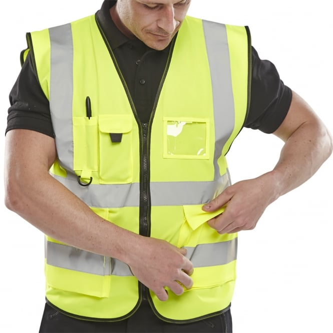 BSeen Executive Hi Viz Waistcoat Saturn Yellow