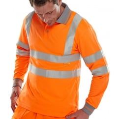 Hi Visibility Breathable Long Sleeve Polo Shirt Orange