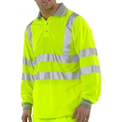 Hi Visibility Breathable Long Sleeve Polo Shirt Yellow