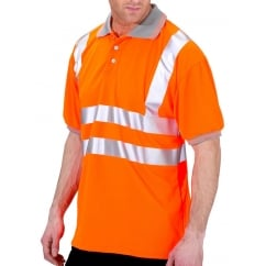 Hi Visibility Breathable Polo Shirt Orange