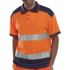 Hi Visibility Breathable Two Tone Polo Shirt Size: L *One Size Only - Outlet Store*