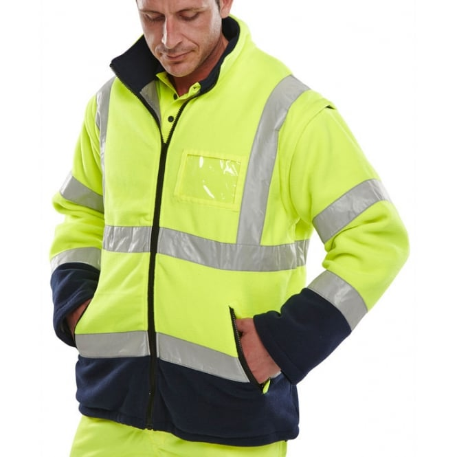 BSeen Hi Visibility Fleece Jacket c/w Removable Sleeves
