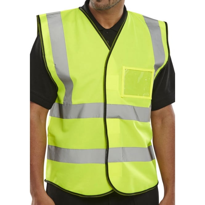 BSeen Hi Visibility Waistcoat Vest Identity Card Pouch Pack 10