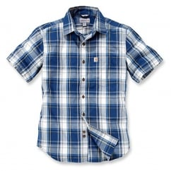 102548 Slim Fit Plaid Shirt S/S Dark Cobalt Blue XL *One Size Only - Outlet Store*