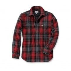 102887 L/S Hubbard Slim Fit Flannel Shirt Dark Crimson L *One Size Only - Outlet Store*