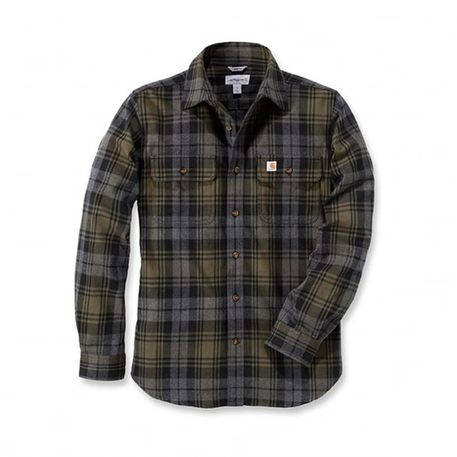 Carhartt 102887 L/S Hubbard Slim Fit Flannel Shirt Moss XL *One Size Only - Outlet Store*