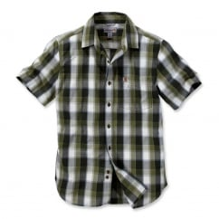 103010 Slim Fit Plaid Shirt Short Sleeve Olive Size: L *One Size Only - Outlet Store*