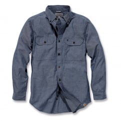 S202 L/S Fort Solid Shirt Denim Blue Chambray Size: L *One Size Only - Outlet Store*