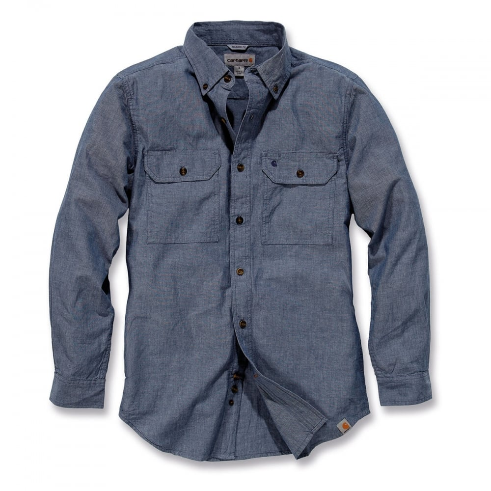 Carhartt s202 long sleeve fort solid chambray shirt for Chambray long sleeve shirt