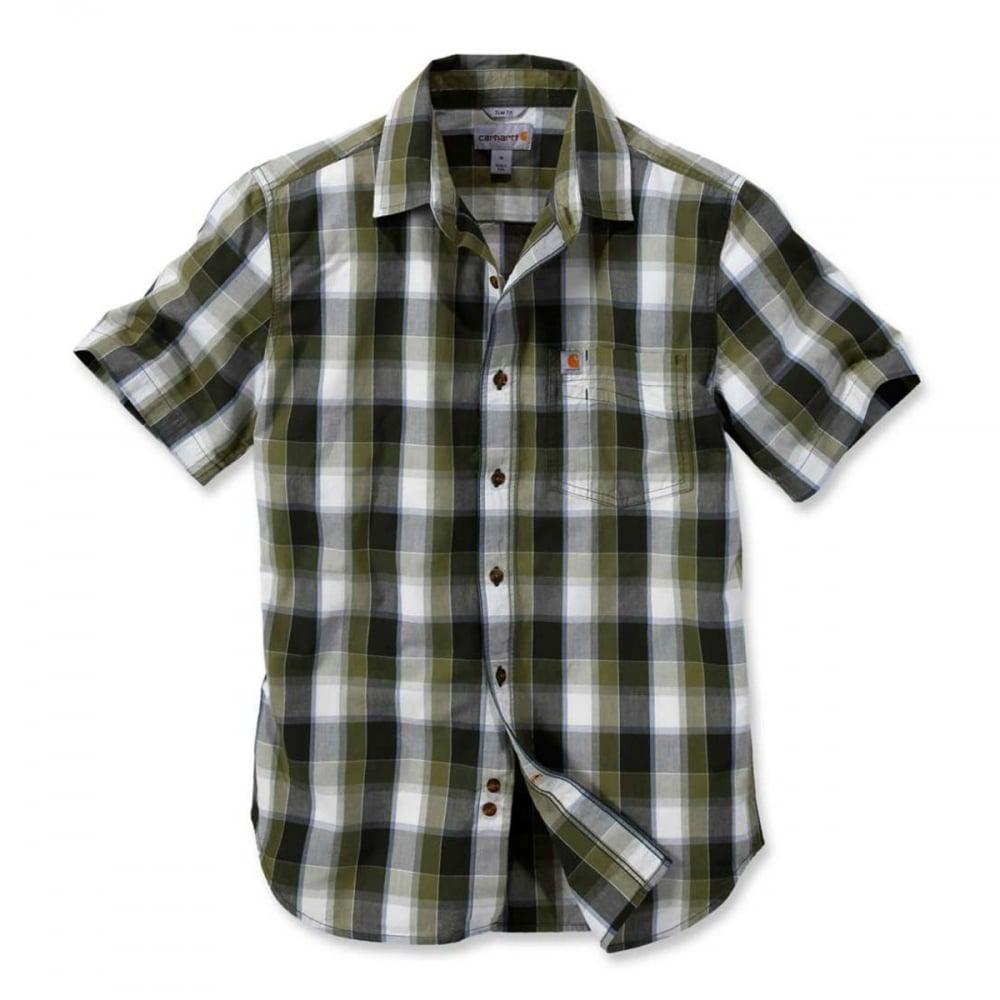 b074d213a3de Carhartt Workwear 103010 Slim Fit Plaid Shirt Short Sleeve ...