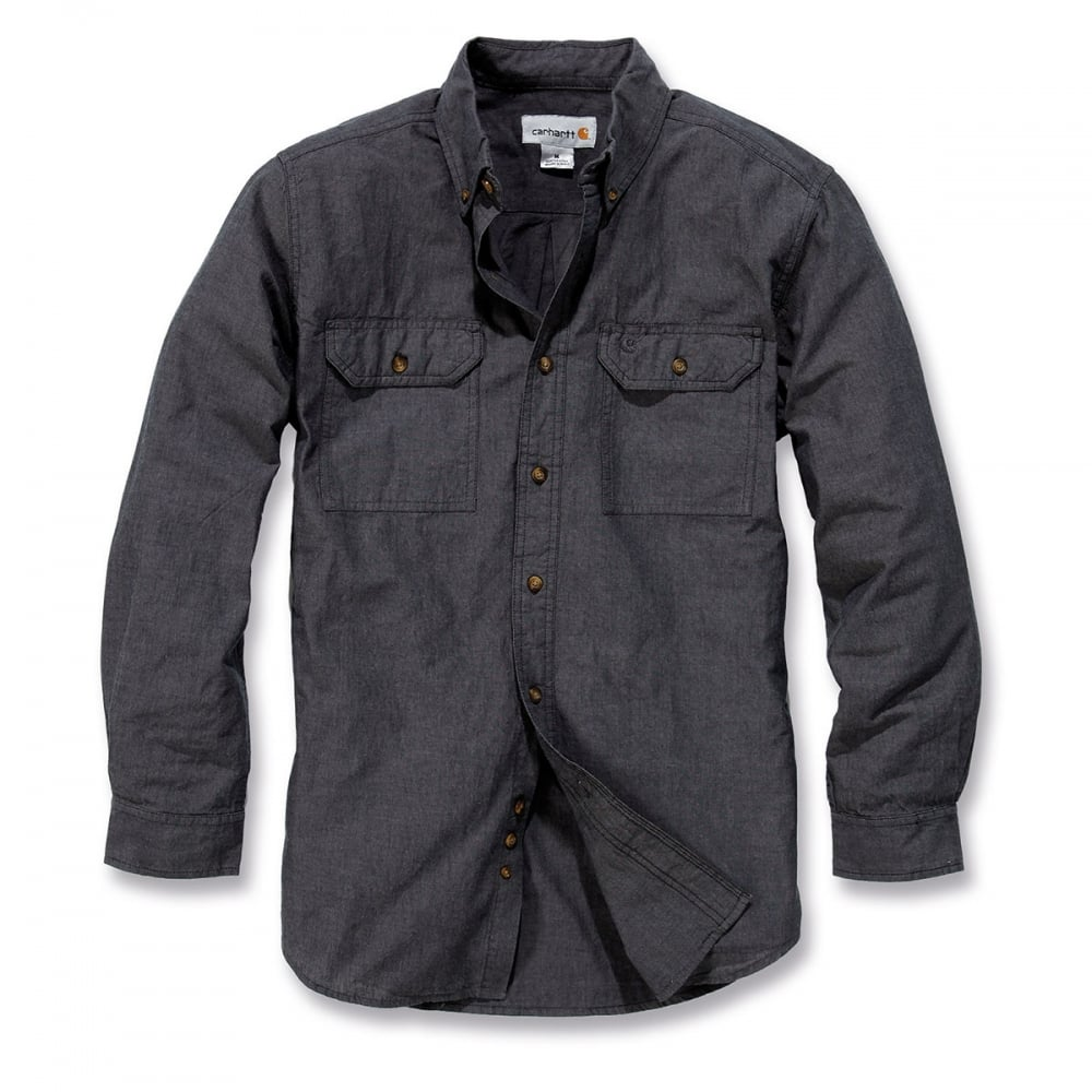 ca899c9fbb6 Carhartt Workwear S202 Long Sleeve Fort Solid Shirt Black Chambray Size  S   One Size Only - Outlet Store
