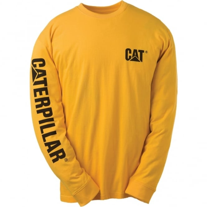 Caterpillar Trademark Banner Long Sleeve T-Shirt Yellow - Size: 2XL *One Size Only - Outlet Store*