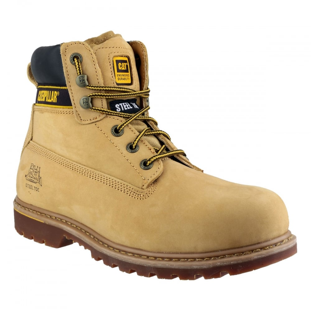 7a0888664a5 CAT Holton Steel Toe SB Lace Up Boots Honey Wide Fit