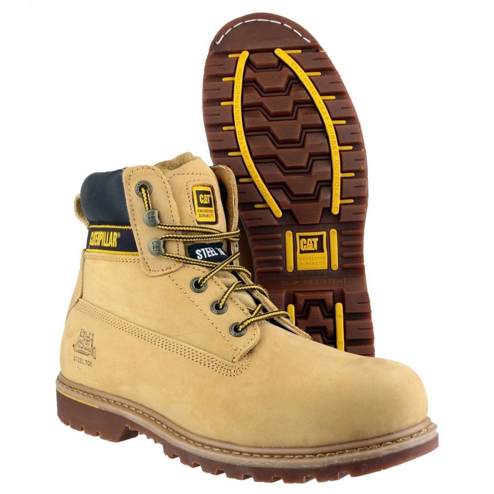76f79bea855 CAT Holton Steel Toe SB Lace Up Boots Honey Wide Fit