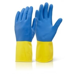 Bi Colour Heavyweight Rubber Glove Pack 10