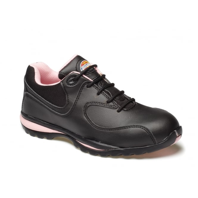 Dickies Workwear FD13905 Ohio Ladies Safety Cap Work Shoe Black/Pink Size: 4 *One Size Only - Outlet Store*