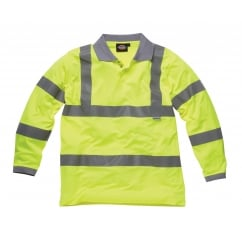 SA22077 Hi Vis Long Sleeve Polo Shirt Yellow Size: L *One Size Only - Outlet Store*