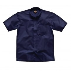 SH64250 Oxford Weave S/S Navy Blue Size: 15.5 *One Size Only - Outlet Store*