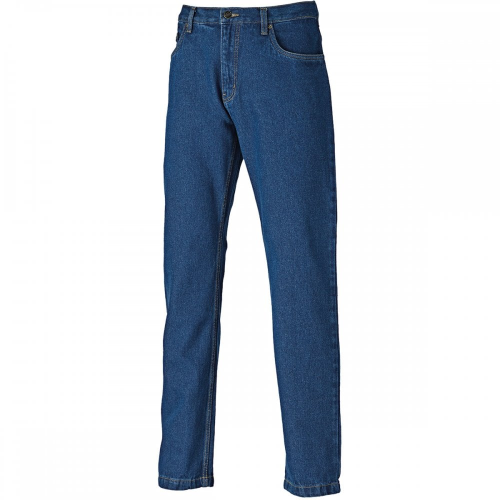 Dickies Mens Work Wear Stone Washed Cotton Denim Blue Jeans