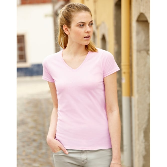 Fruit Of The Loom 61398 Lady-Fit Valueweight V-Neck T-Shirt