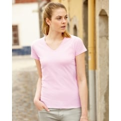 61398 Lady-Fit Valueweight V-Neck T-Shirt
