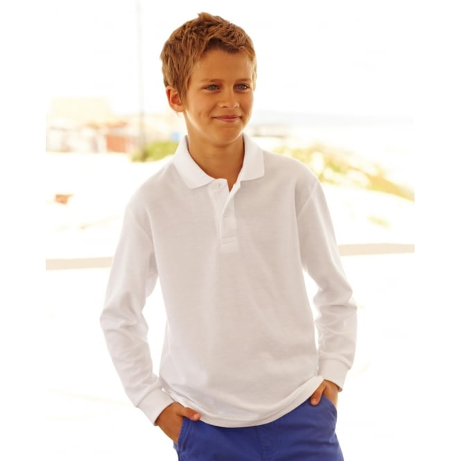Fruit Of The Loom 63201 Childrens Long Sleeve 65/35 Pique Polo Royal - Size: 9-11 Years *One Size Only - Outlet Store*