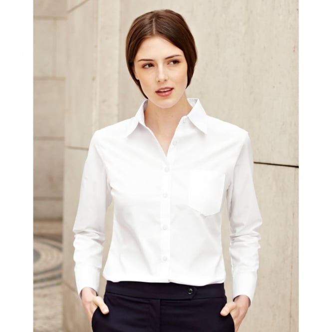 Fruit Of The Loom 65012 Lady-Fit Long Sleeve Poplin Shirt White - Size: M *One Size Only - Outlet Store*