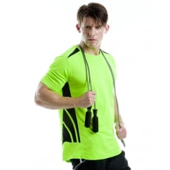 Gamegear KK930 Men's Cooltex Training T-Shirt Fluorescent Lime/Black - Size: M *One Size Only - Outlet Store*