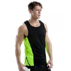 KK973 Men's Cooltex Sports Vest Black/Fluorescent Orange - Size: S *One Size Only - Outlet Store*