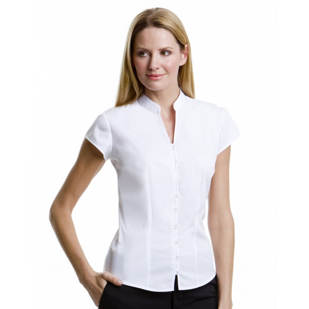 e62fc6abd6b2 Kustom Kit KK727 Ladies  Continental Blouse Mandarin Collar Cap Sleeve