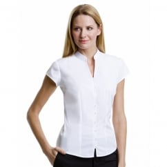 KK727 Ladies' Continental Blouse Mandarin Collar Cap Sleeve White - Size: 14 *One Size Only - Outlet Store*