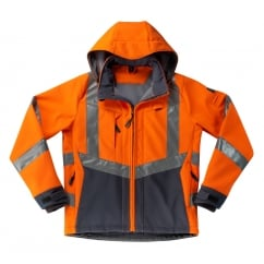 Blackpool Softshell Jacket, Hi-Vis Orange/Dark Navy, Size: 3XL *One Size Only - Outlet Store*