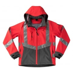 Blackpool Softshell Jacket, Hi-Vis Red/Dark Anthracite, Size: XL *One Size Only - Outlet Store*