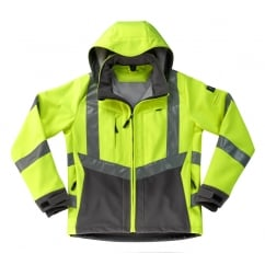 Blackpool Softshell Jacket, Hi-Vis Yellow/Dark Anthracite, Size: S *One Size Only - Outlet Store*