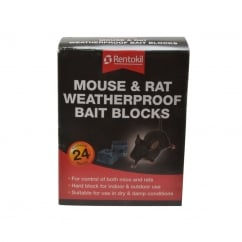 Mouse & Rat Weatherproof Bait Blocks (Pack of 24)
