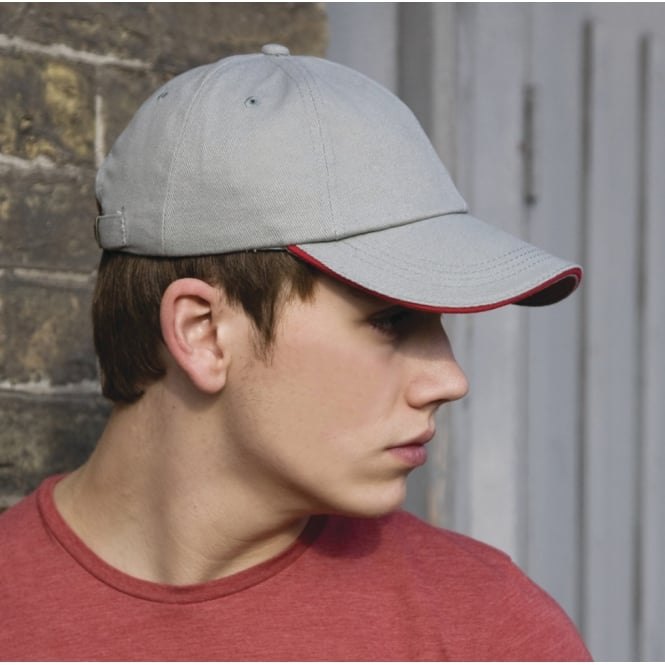 Result Headwear RC24P Low Profile Heavy Brushed Cotton Cap With Sandwich Peak