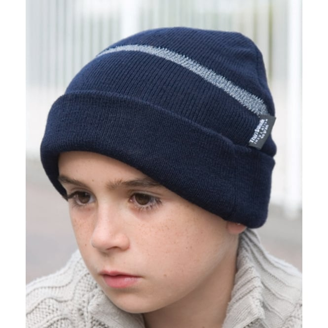 Result Headwear RC33J Children's Wooly Ski Hat with Reflective Woven Threaded Band