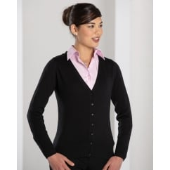 715F Ladies' V-neck Knitted Cardigan