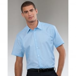 923M Men's Short Sleeve Easy Care Tailored Oxford Shirt Oxford Blue - Size: 17.5