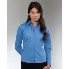 924F Ladies Long Sleeve Poly-Cotton Easy Care Fitted Poplin Shirt
