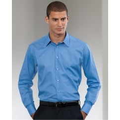 924M Men's Long Sleeve Poly-Cotton Easy Care Tailored Poplin Shirt