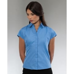 925F Ladies' Cap Sleeve Polycotton Easy Care Fitted Poplin Shirt