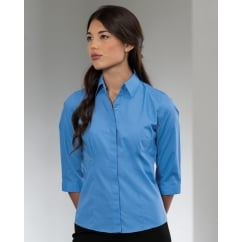 926F Ladies' 3/4 Sleeve Poly-Cotton Easy Care Fitted Polin Shirt Corporate Blue - Size: XL *One Size Only - Outlet Store*