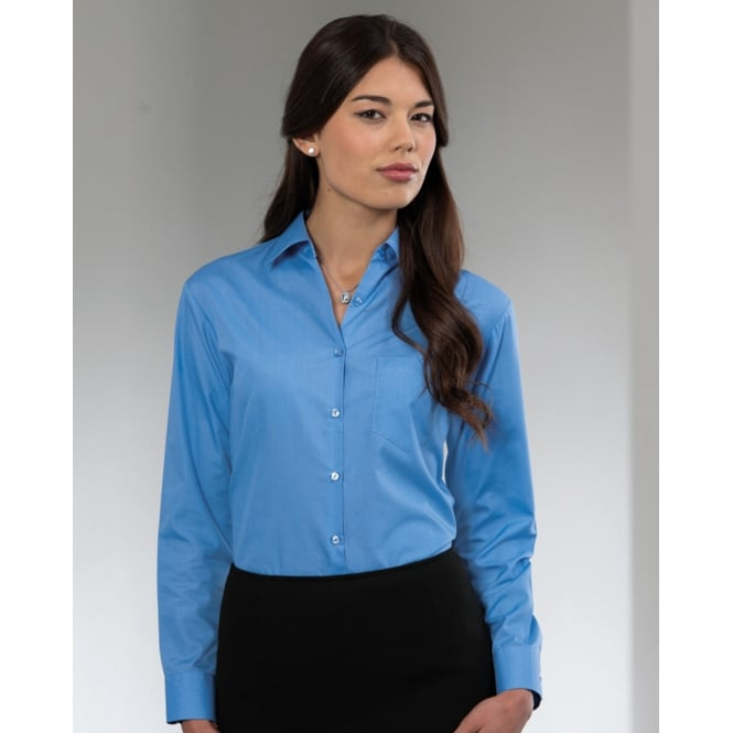 Russell Collection 934F Ladies' Long Sleeve Polycotton Easy Care Poplin Shirt