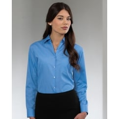 934F Ladies' Long Sleeve Polycotton Easy Care Poplin Shirt